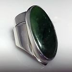 Sculptural Dark Green Jade Ring